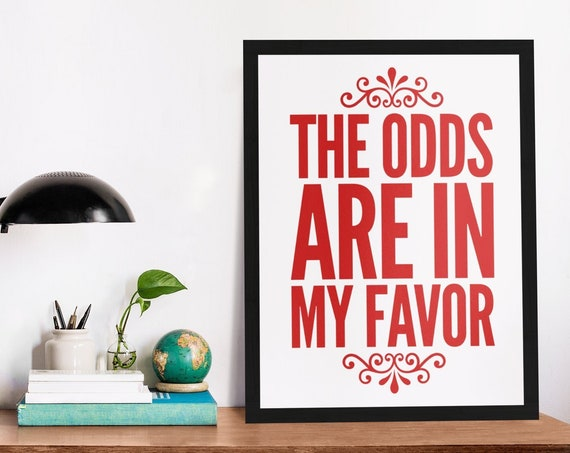 The Odds Are in My Favor  Inspirational Uplifting Poster in Bright Red Typography  16x20 Matte