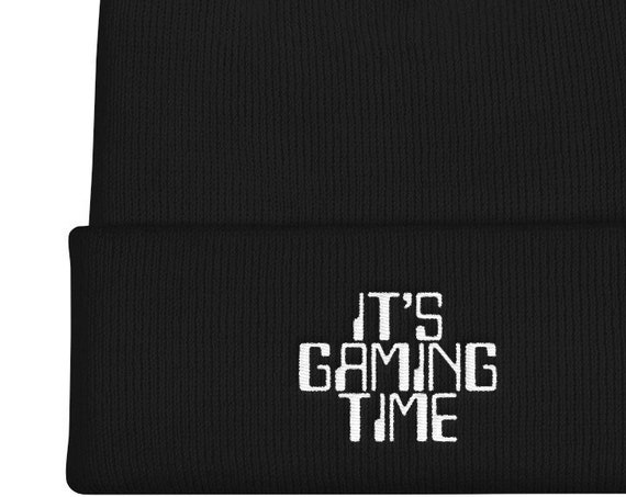 Gamer Hat - it's gaming time Embroidered Cuffed Beanie - video game player gift - Pro Gamer