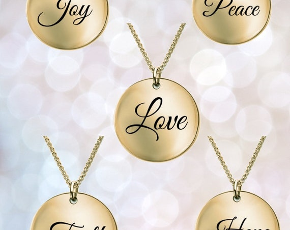Positivity Jewelry Set of 5 laser engraved round pendant necklace  18k Gold word affirmation  college graduation gift for her