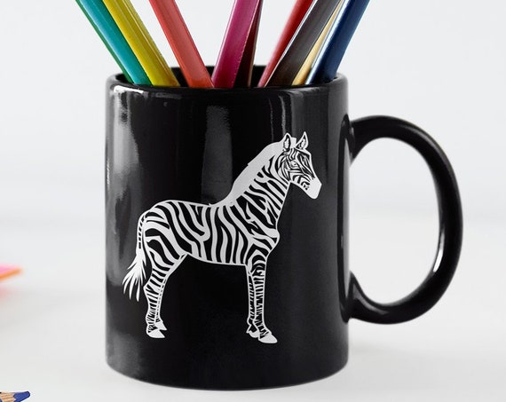 Zebra lovers mug - cool graphic coffee tea cup for fans of zebras - wild animal fan