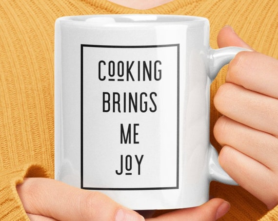 Food blogger gift - cooking brings me joy coffee tea mug - chef cook foodie present