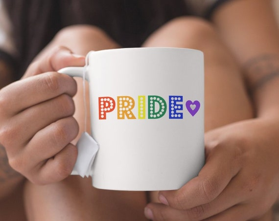 Pride rainbow lights coffee mug mug lgbtq gift