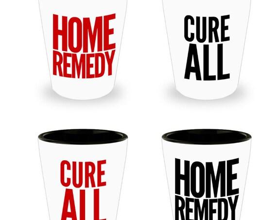 Bachelorette party basket  Cure all home remedy shot glasses  Set of 4  21st shot glass set