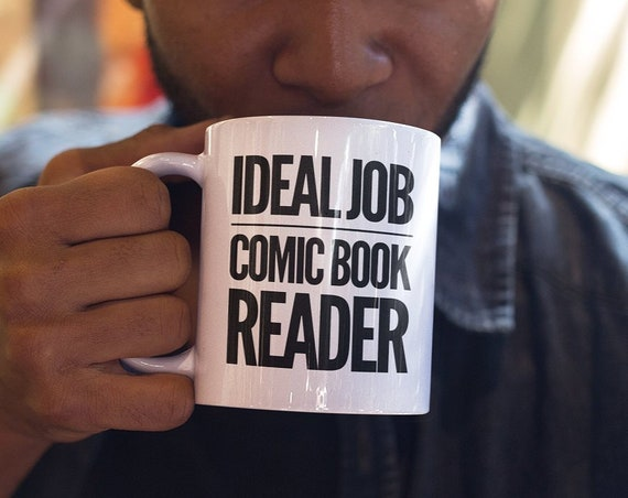 Comic book lover gifts - ideal job comic book reader mug - funny coffee tea cup for fans