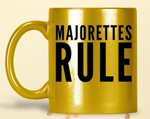 Baton twirler mug - majorettes rule sparkly coffee tea cup - Marching Band Dancer Gift