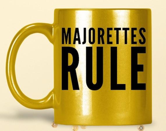 Baton twirler mug - majorettes rule sparkly coffee tea cup - Marching Band Dancer Gift