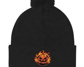 Halloween Beanie Hat - Carved Pumpkin Pom Pom Knit Cap - Knitted Skull Cap Gift