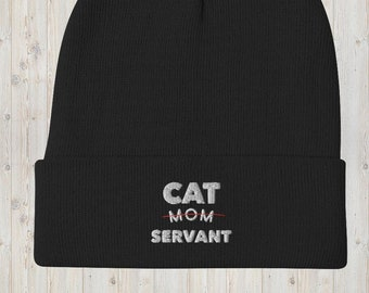 Cat Hat - Cat Mom Servant Embroidered Knit Beanie - Fall / Winter Cap