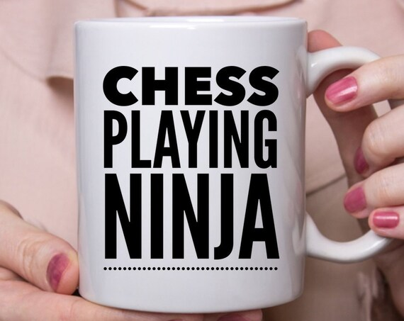 Chess player mug - chess playing ninja coffee tea cup - chess lover