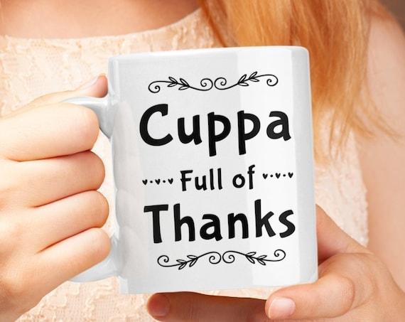 Thanksgiving coffee mug - cuppa full of thanks - Dinner Host Gift
