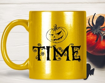 Halloween Pumpkin Mug - It's Pumpkin Time Sparkly Gold Tea Latte Cup