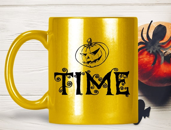Halloween pumpkin mug it's pumpkin time sparkly gold tea latte cup