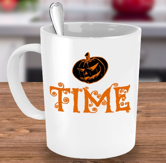 Halloween themed mug - it's pumpkin time coffee tea cup