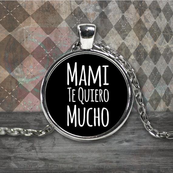 Regalo para Mama Mami te quiero mucho round silver plated pendant necklace cumpleaños