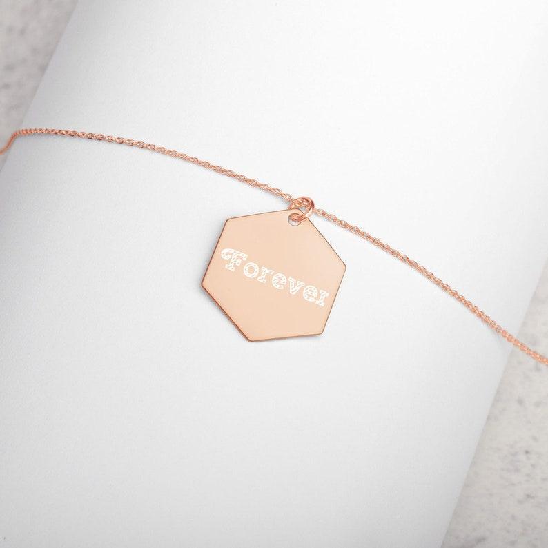 Anniversary Necklace  Forever Engraved Sterling Silver 18K Rose Gold coatin
