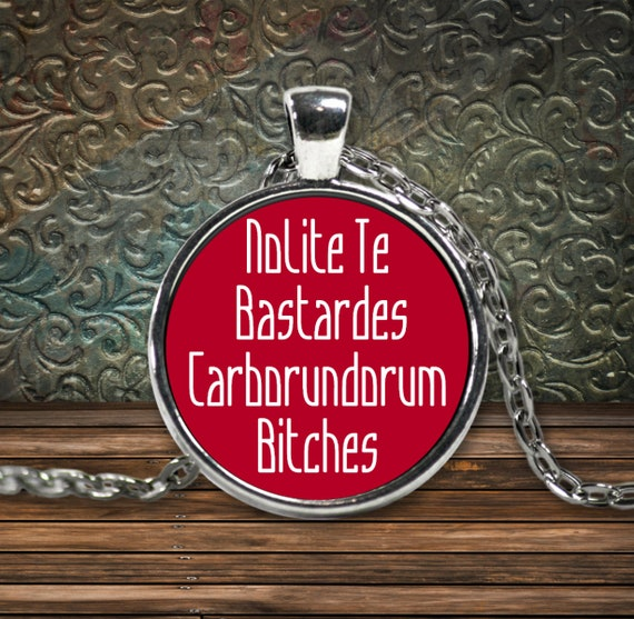 Nolite te bastardes carborundorum bitches red pendant necklace silver plated feminist resistance sisterhood gift for women