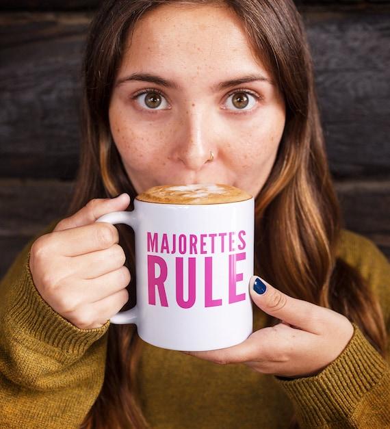 Baton twirler coffee mug - majorettes rule tea cup - baton twirling gift