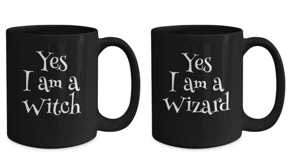 Geeky couples gift  witch wizard fantasy fandom black mugs  anniversary present