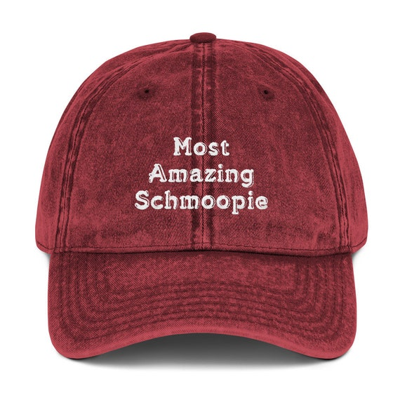 Valentines Day - Most Amazing Schmoopie Vintage Cotton Twill Cap - Distressed Hat - Embroidered