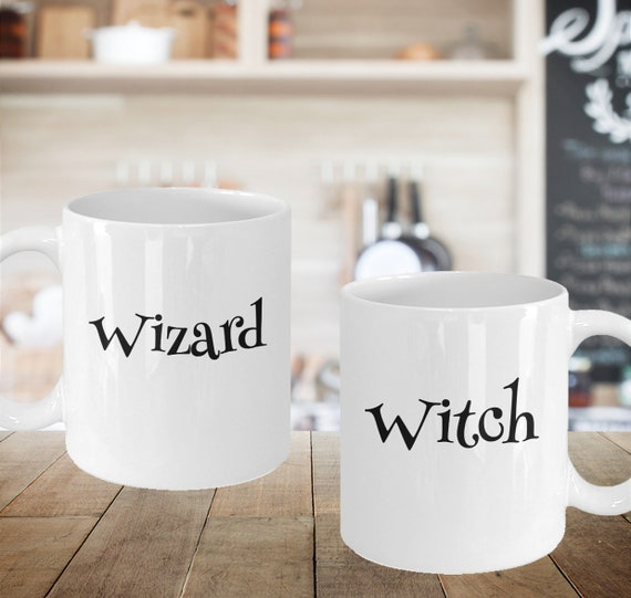 Valentines Day Gift - Witch Wizard coffee tea mugs - Anniversary Present - Cosplay Couple