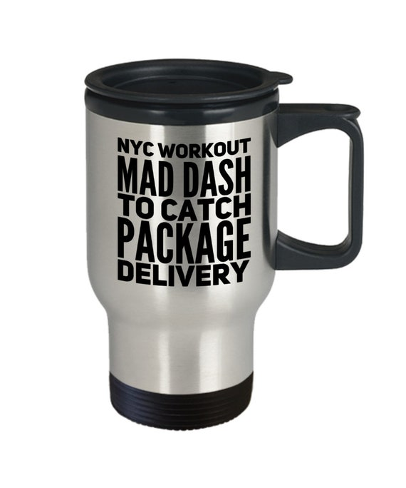 New york city travel mug workout mad dash to catch package delivery coffee tea cup