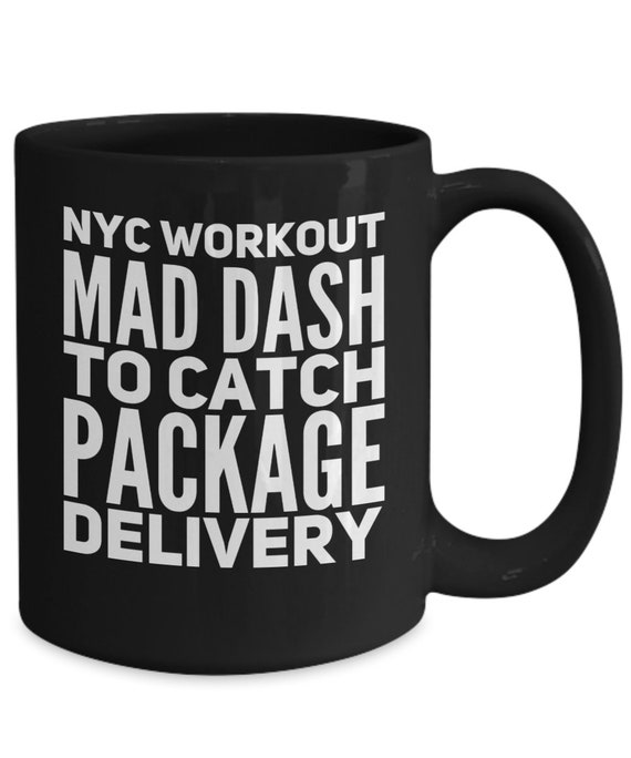 New yorker mug nyc workout mad dash to catch package deliver coffee tea black cup