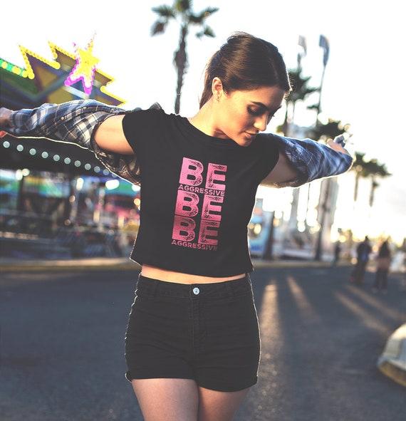 Cheerleader Gift Women's Crop Top Tee  Be Aggressive Cute Cheerleading shirt