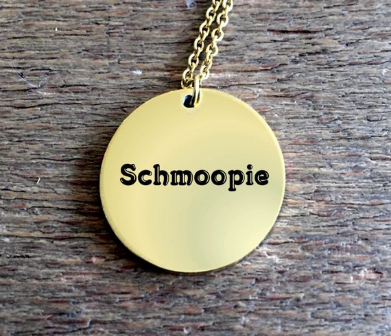 Anniversary Gift - Schmoopie Laser Engraved Round Pendant Necklace - Gold Plated 18k - Wife Husband Boyfriend Girlfriend Fiance