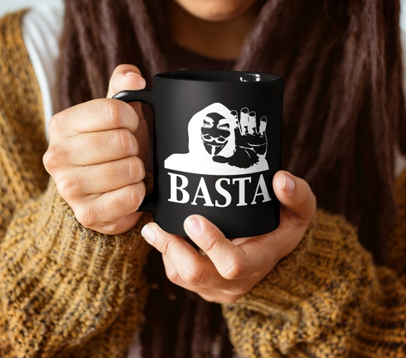 Basta anonymous mug resist persist black coffee cup