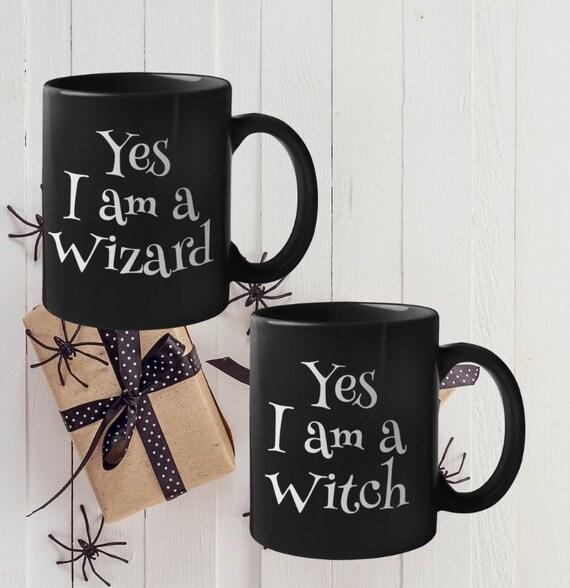 Halloween Coffee Mugs Yes I am Witch Wizard fantasy fandom black tea cups