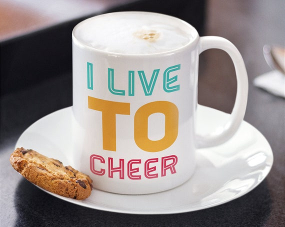 Cheer coach gift - i live to cheer - cheerleading coffee tea mug - Cheerleader present