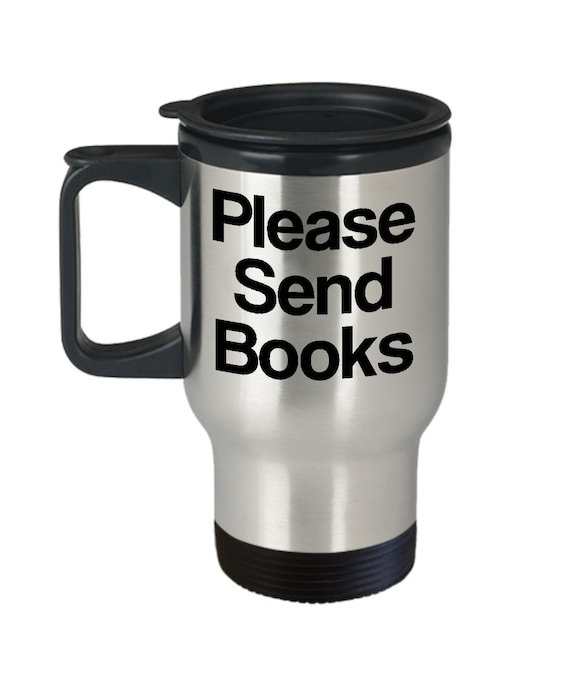 Book editor travel mug please send books coffee tea cup