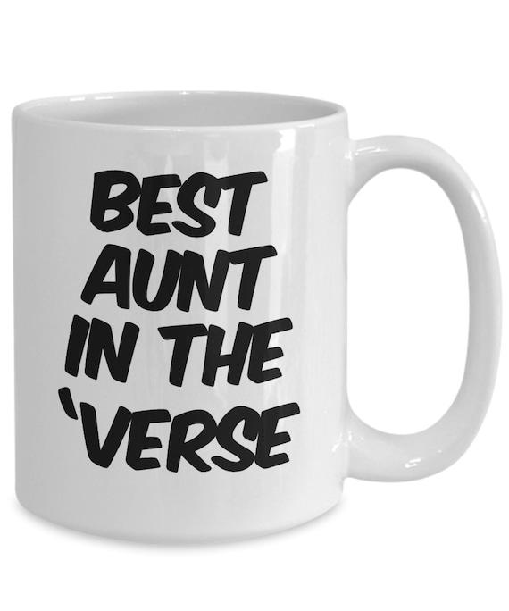 Fun Aunt Mug - best aunt in the 'verse - coffee or tea mug for nerdy aunt