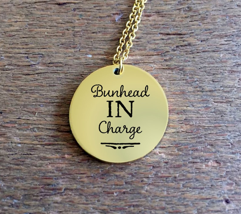 Ballet Teacher Gifts  Bunhead in Charge Engraved Necklace  image 0