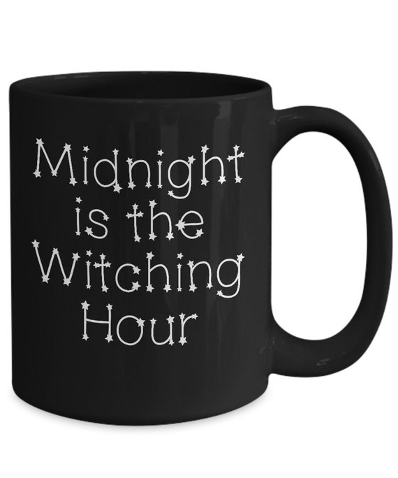 Halloween themed mug  midnight is the witching hour black coffee brew cup  tea mug