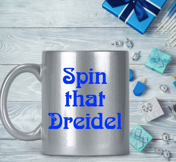Hanukkah mug spin that dreidel silver and blue coffee cup chanukkah holiday gift