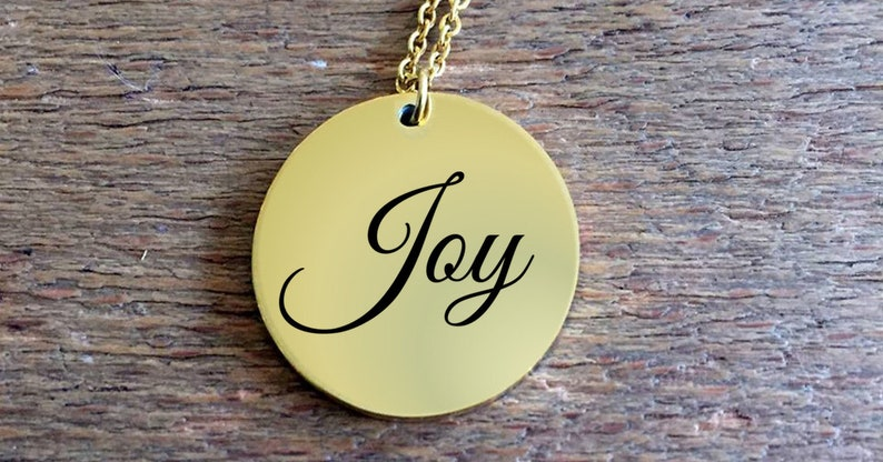 Positivity Jewelry  Joy laser engraved round pendant necklace image 0