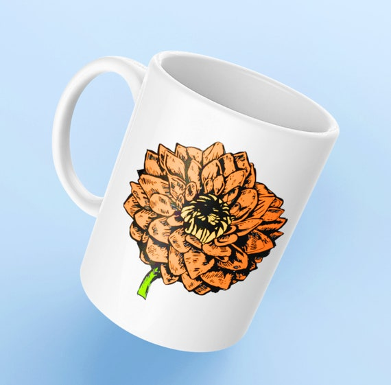 Gardening mug - dahliances floral mug - coffee tea cup for flower lovers - valentines day gift - gardener