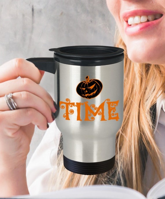 Halloween travel mug it's pumpkin time stainless tea coffee cup