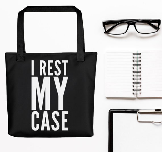 Gift for attorneys  I rest my case large black tote bag