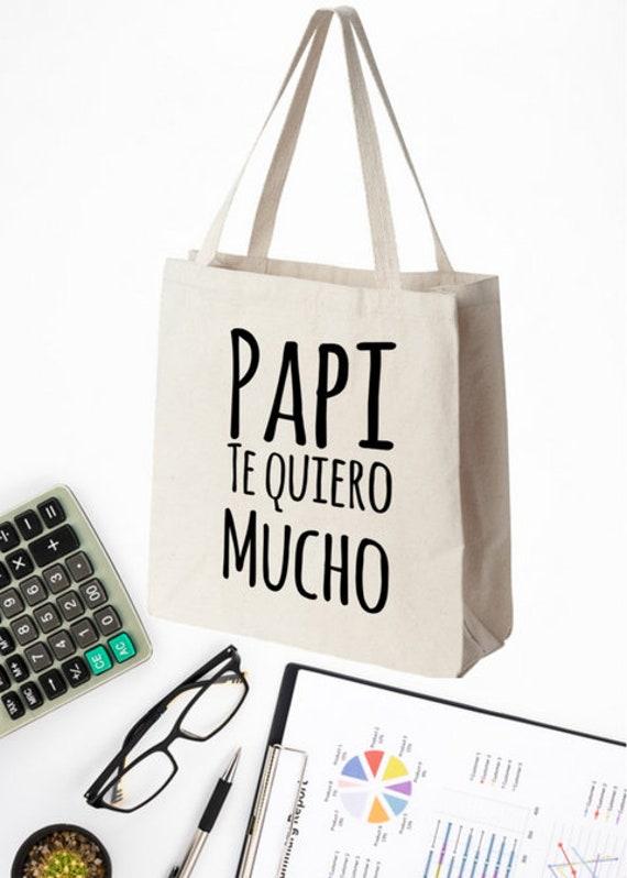 Regalo Para Papa Papi Te Quiero Mucho Tote Bag Bolsa de Cumpleaños