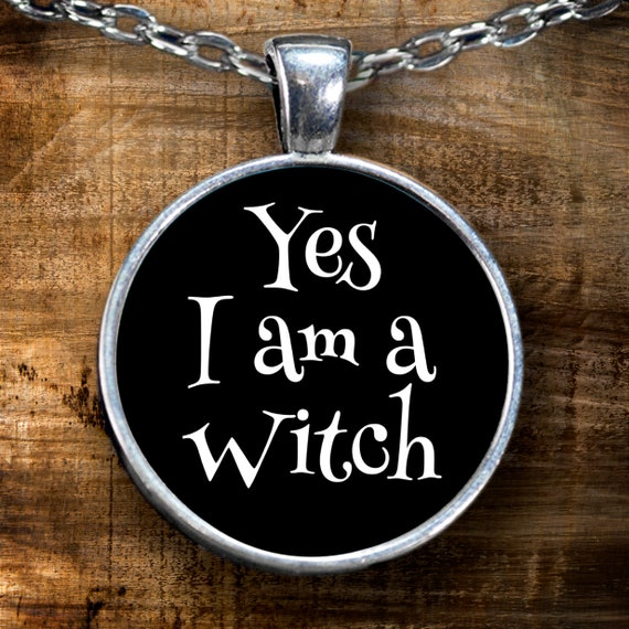Halloween themed necklace yes i am a witch silver plated pendant