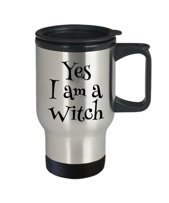 Halloween coffee travel mug  yes i am a witch fandom tea mug smoothie cup  cosplay gift