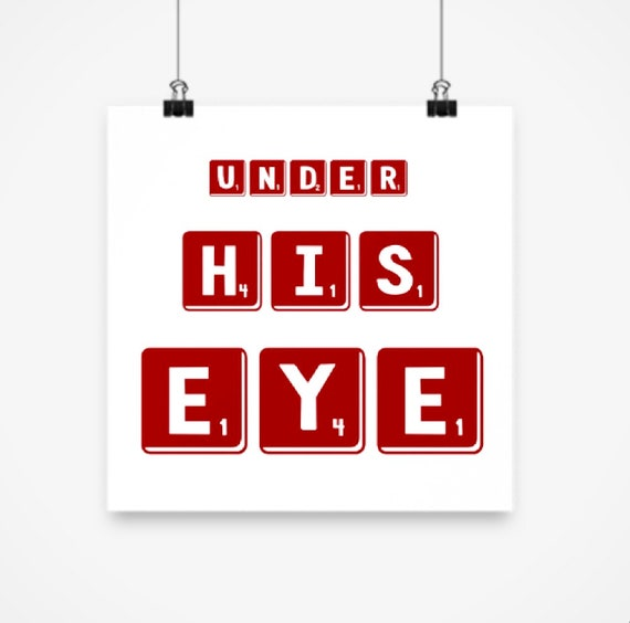 Under His Eye Red and White Square Poster Home Bedroom Dorm Wall Art
