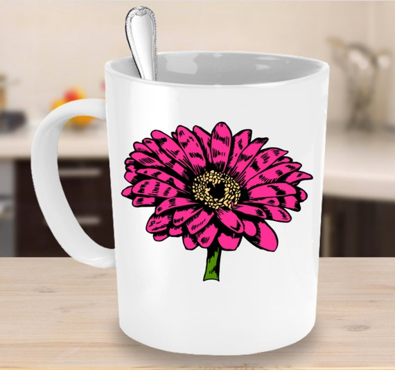 Valentines day gift - hot pink zinnia flower mug - floral tea cup