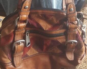0238a14c37 Rare vintage en cuir fossile 54 54 Hobo sac à main rare trouver!! Gros  matériel en cuir lourd authentique! sac à bandoulière daim