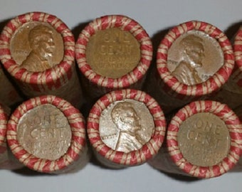 5 rolls of Unsearched Wheat pennies From Grandpa's Stash