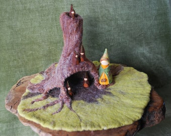 Tree stump burrow, gnome home, waldorf playscape/mat