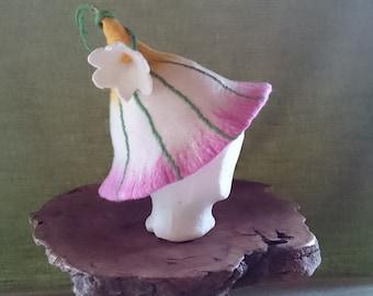 Hand felted merino wool child's flower hat