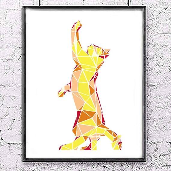 Kot Geometryczny Kot Cyfrowy Plakat Druk Cyfrowy Wystrój Etsy